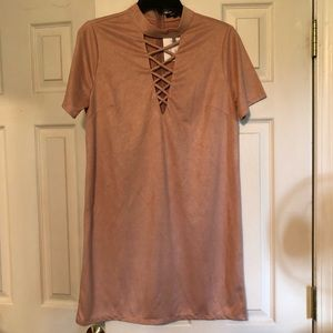 Blush suede dress NWT